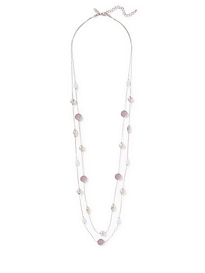 Beaded Faux-Druzy Stone 2-Row Illusion Necklace  - New York & Company