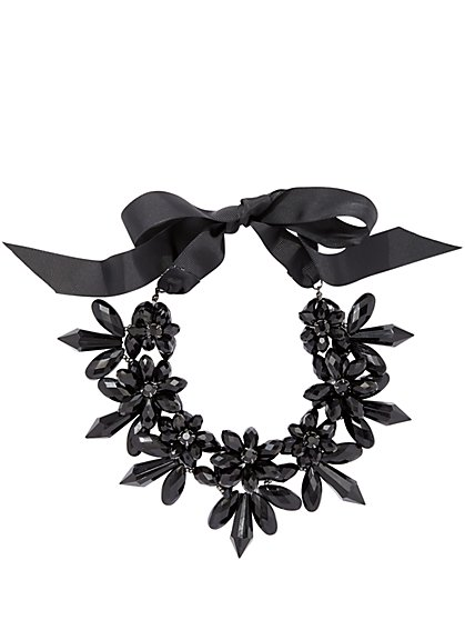 Beaded Floral Statement Necklace  - New York & Company