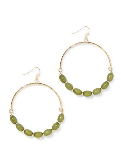 Beaded Goldtone Hoop Drop Earring  - New York & Company