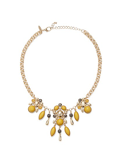 Beaded Goldtone Statement Necklace  - New York & Company