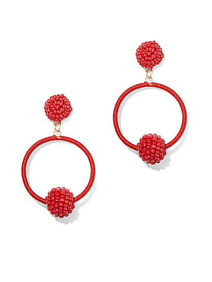 Beaded Hoop Drop Earring - New York & Company