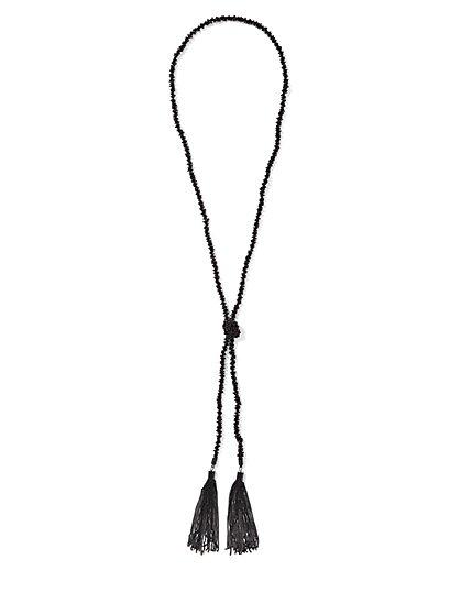Beaded Knot Tassel Necklace - New York & Company