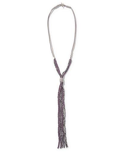 Beaded Lariat Necklace - New York & Company