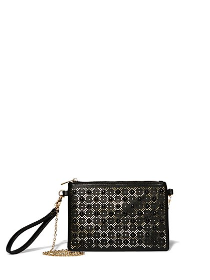 Beaded Perforated Clutch - New York & Company