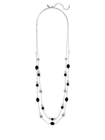 Beaded Silvertone Hoop Drop Earring  - New York & Company