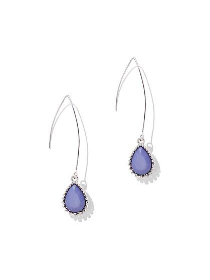 Beaded Silvertone Teardrop Earring - New York & Company