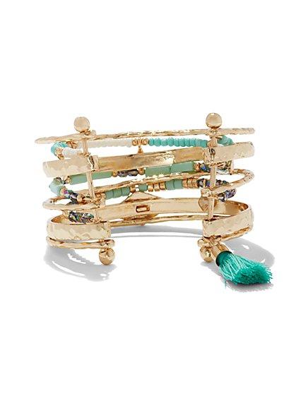 Beaded & Tassel-Accent Bangle Cuff Bracelet  - New York & Company