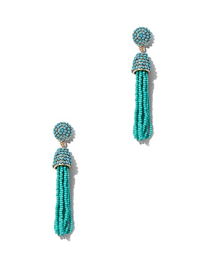 Beaded Tassel-Accent Drop Earring  - New York & Company