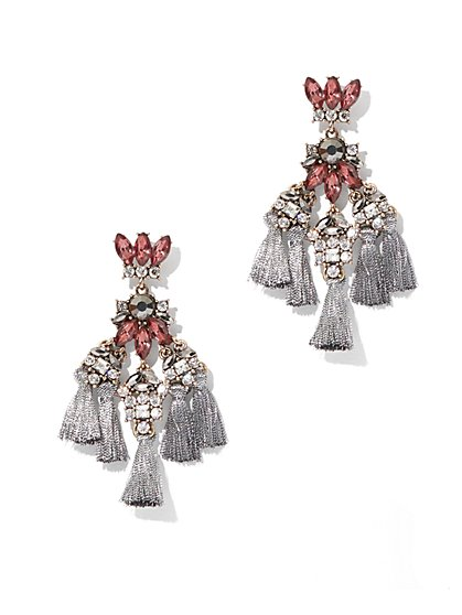 Beaded Tassel Chandelier Drop Earring  - New York & Company