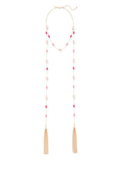Beaded Tassel Lariat Necklace  - New York & Company