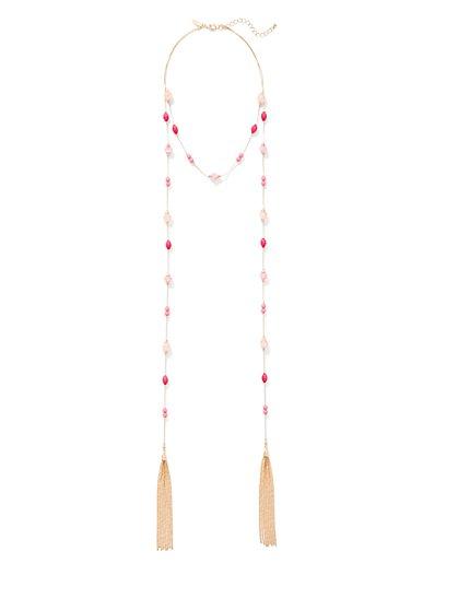 Beaded Tassel Lariat Necklace  - New York & Company