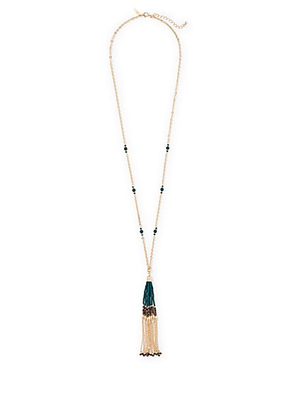 Beaded Tassel Necklace  - New York & Company