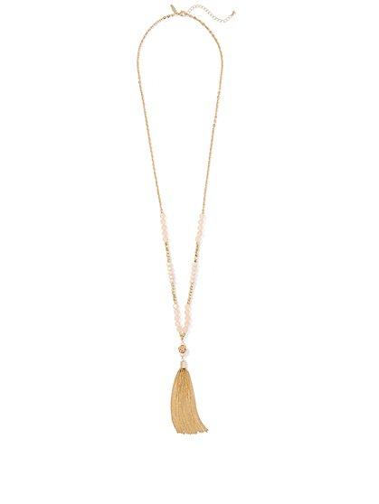 Beaded Tassel Pendant Necklace  - New York & Company