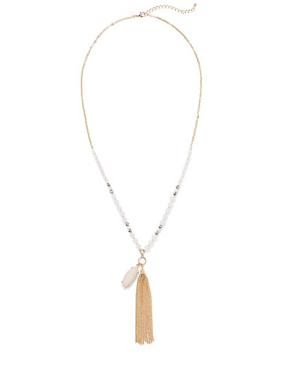 Beaded Tassel Pendant Necklace  - New York & Company