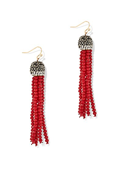 Beaded Tassel Statement Earring - New York & Company