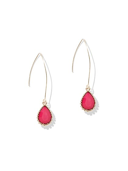 Beaded Teardrop Earring - Fuchsia - New York & Company