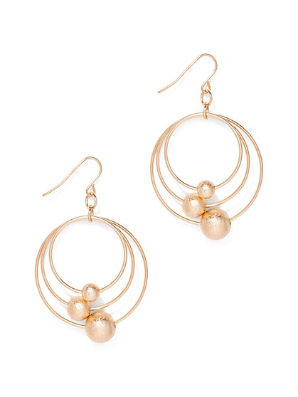 Beaded Triple-Hoop Drop Earring  - New York & Company