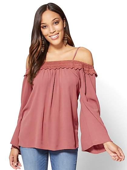 Bell-Sleeve Off-The-Shoulder Blouse - New York & Company