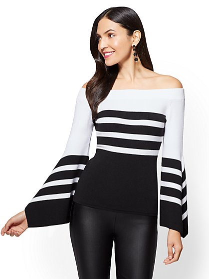 Bell-Sleeve Off-The-Shoulder Sweater - Stripe - New York & Company