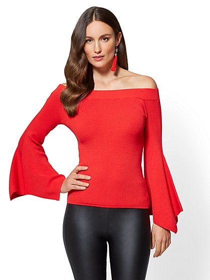 Bell-Sleeve Off-The-Shoulder Sweater - New York & Company