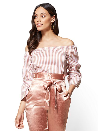 Bell-Sleeve Poplin Off-The-Shoulder Shirt - Pink Stripe - New York & Company