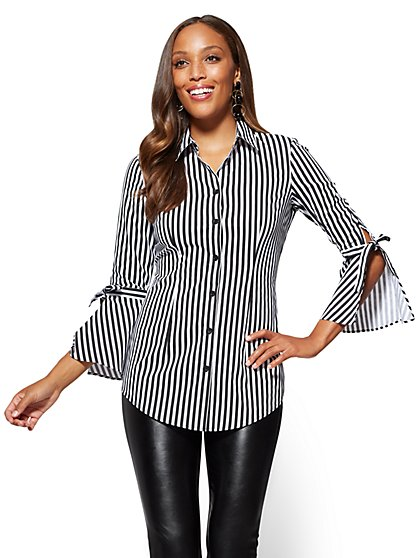Bell-Sleeve Poplin Tunic - Stripe - New York & Company