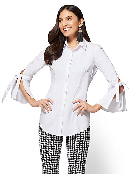 Bell-Sleeve Poplin Tunic - New York & Company