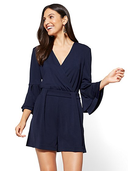Bell-Sleeve Romper - Navy - New York & Company