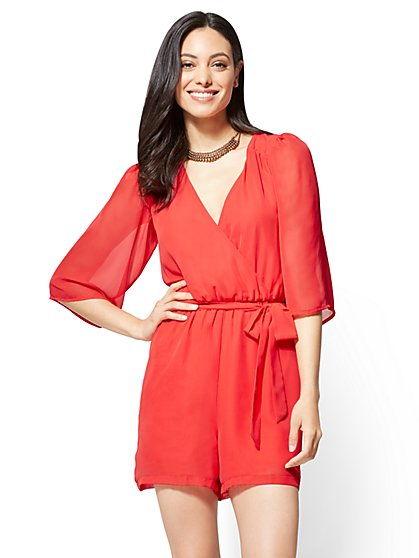 Bell-Sleeve Romper - Red - New York & Company