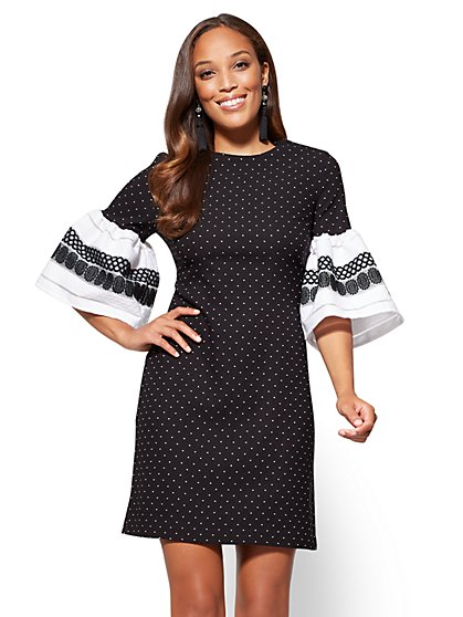 Bell-Sleeve Shift Dress - Black & White  - New York & Company
