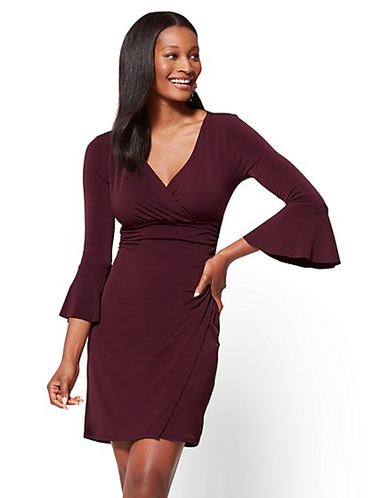 Bell-Sleeve Wrap Dress  - New York & Company