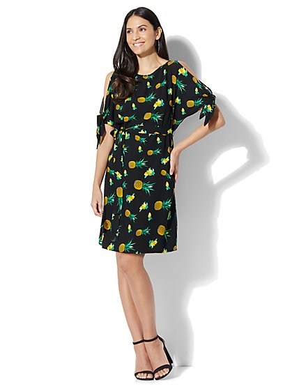 Belted Cold-Shoulder Dress - Fruit Print - New York & Company