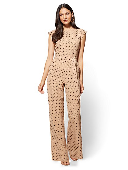 Belted Jumpsuit - Polka-Dot Print - New York & Company