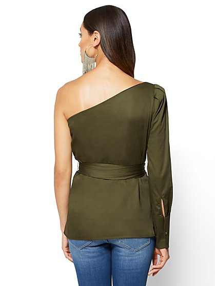 ... Belted One-Shoulder Shirt - Olive - New York & Company - Blouses For Women Women's Shirts NY&C