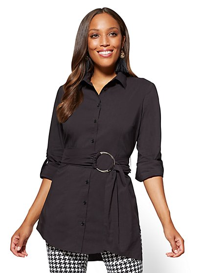 Belted Poplin Tunic - New York & Company