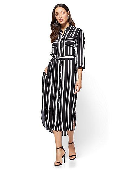 Belted Shirtdress - Stripe - New York & Company