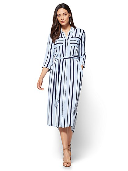 Belted Shirtdress - Stripe - New York & Company