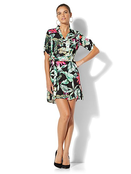 Belted Soft Shirtdress - Floral Print - New York & Company