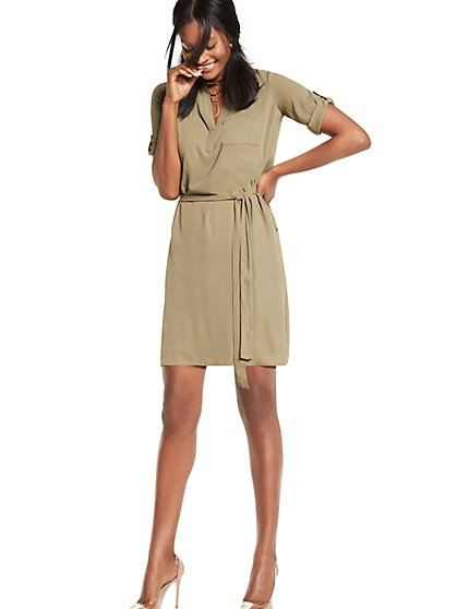 Belted Soft Shirtdress - New York & Company