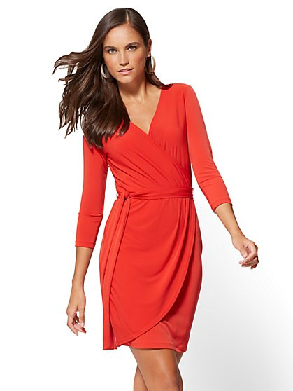 Belted Wrap Dress - New York & Company