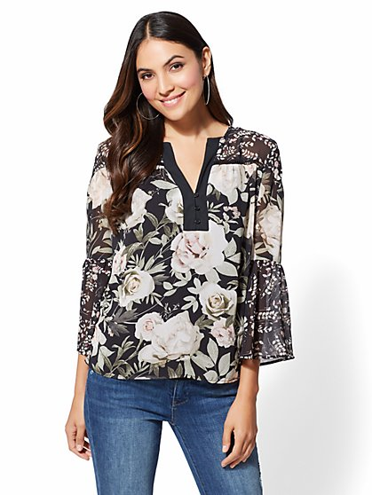 Black Floral Peasant Blouse - New York & Company