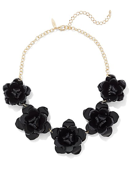 Black Floral Statement Necklace  - New York & Company