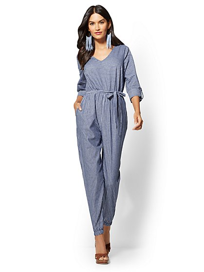 Blue Belted Jumpsuit - Mixed Stripe - New York & Company