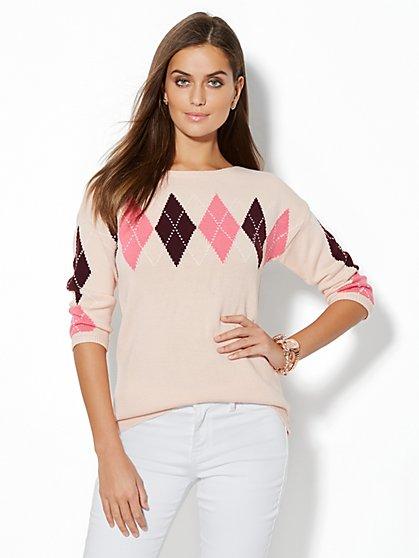 Boatneck Sweater - Argyle - New York & Company