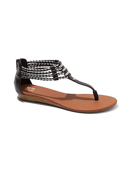 Bolo Braid T-Strap Sandal  - New York & Company