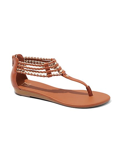 Bolo Braid T-Strap Sandal  - New York & Company