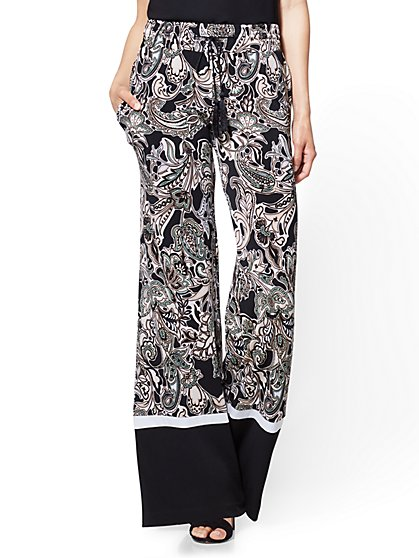 Border-Hem Palazzo Pant - Black Paisley - New York & Company