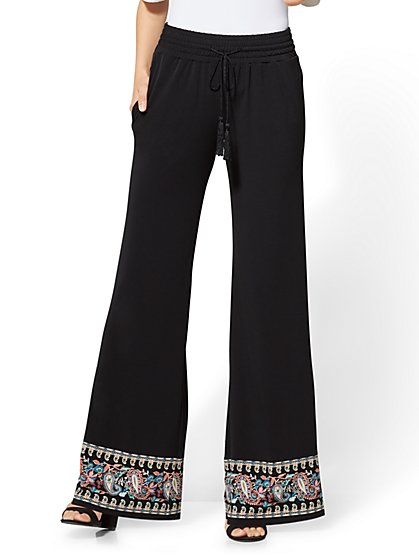 Border-Hem Palazzo Pant - Black - New York & Company