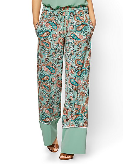 Border-Hem Palazzo Pant - Mint Paisley - New York & Company