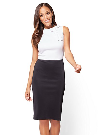 Bow-Accent Colorblock Sheath Dress - New York & Company